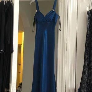 Elegant beautiful sparkly blue evening dress size